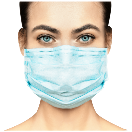 Disposable Face Mask with earloops on a woman. Provide effective protection against dust, fog, bacteria, pollution, pollen and infectious diseases.