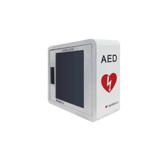 AED Wall Cabinet Alarmed (Defibtech) for the Defibtech Lifeline first aid range. A loud alarm will sound whenever the cabinet is opened.