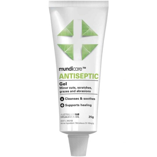 Soothing Mundicare Antiseptic gel 25g for management of minor wounds. Perfect for a First Aid Kit and Emergency Rescue Kit.
