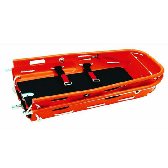 The Ferno 71 Basket Stretcher separates in half for compact storage or backpacking to an emergency rescue site.