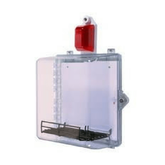 AED Clear Wall Cabinet completely visible through the clear window and cabinet door with an alarm. Fits ZOLL AED Plus.