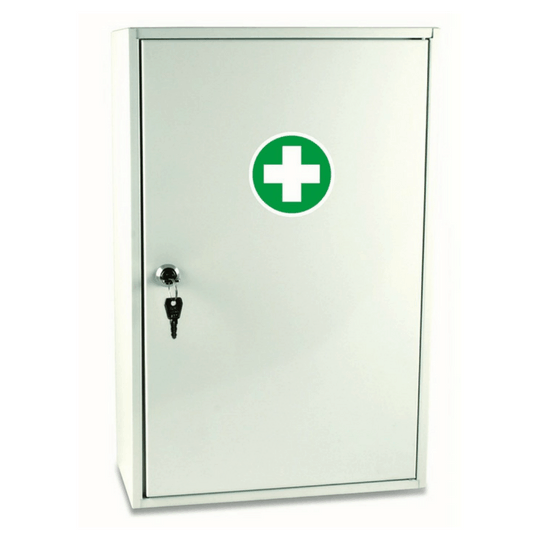 Metal wall mount first aid kit, perfect for businesses. Contains complete Australian Code of Practice Content Module.