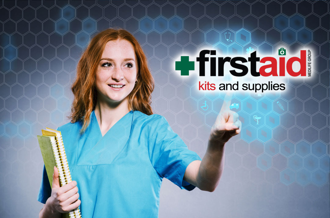 Young woman doctor shopping for First Aid Kits and Supplies Online