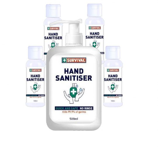 Hand Sanitiser 5 pack, 75% ethyl alcohol sanitiser to protect your personal health. Kills 99.9% germs, quick and safe – no rinse required.